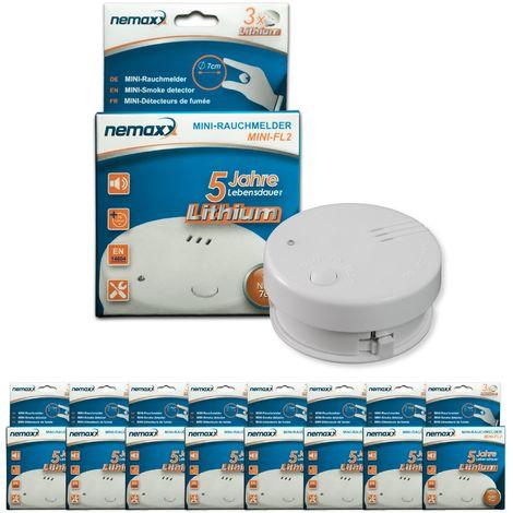 8x detector de humo Nemaxx Mini-FL2 Mini Detector de Fuego y humo detector con batería de litio de acuerdo con la norma DIN EN 14604