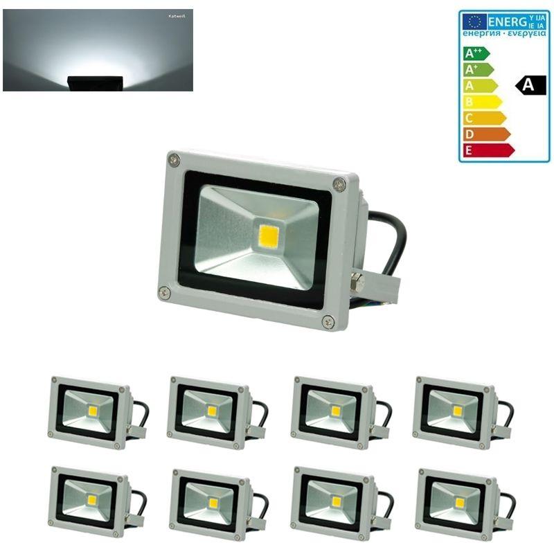 8 x Faro faretto proiettore lampada a LED 10W color bianco freddo da esterno - ECD GERMANY