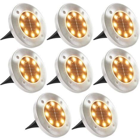 8x Lampe Solaire de Sol Lumière LED Blanc Chaud Éclairage de Jardin
