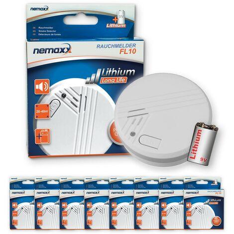 8x Nemaxx FL10 Rauchmelder - hochwertiger Rauchwarnmelder mit langlebiger 10 Jahre Lithium-Batterie - nach DIN EN 14604