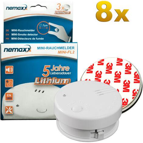 8x Nemaxx Mini-FL2 Rauchmelder - hochwertiger & diskreter Mini Brandmelder Feuermelder Rauchwarnmelder mit Lithium Batterie - nach DIN EN 14604 + 8x Nemaxx Magnetbefestigung