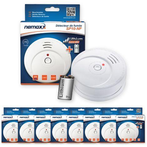 8x Nemaxx SP détecteurs de fumée durable avec 10 ans pile au lithium 9V - DIN EN 14604 : 2005/AC : 2008 certifié