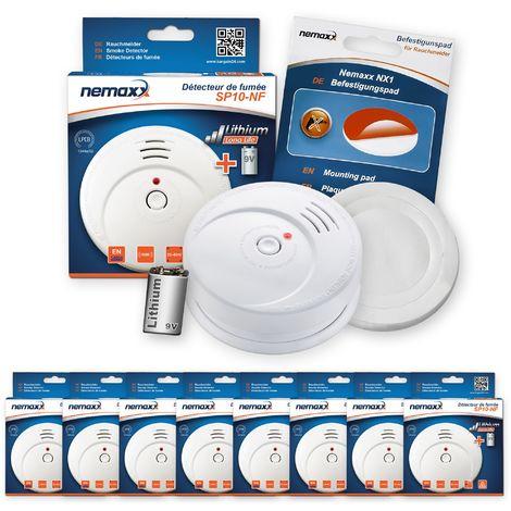 8x Nemaxx SP détecteurs de fumée durable avec 10 ans pile au lithium 9V - DIN EN 14604 : 2005/AC : 2008 certifié + NX1 patin de fixation auto-adhésive