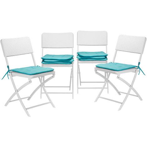 8x Stuhlkissen, Sitzkissen mit Schleife, Auflage für Stühle in Haus u. Garten, waschbar, Stuhlauflage, Polyester, türkis