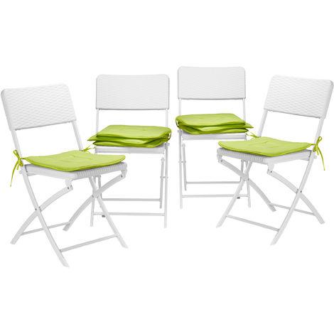 8x Stuhlkissen, Sitzkissen mit Schleife, Auflage für Stühle in Haus und Garten, waschbar, Stuhlauflage, Polyester, grün