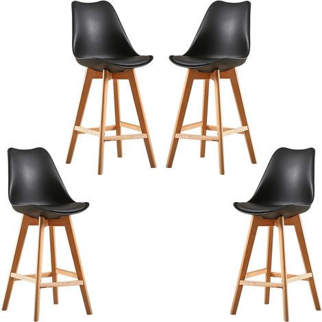 8X Un ensemble de deux chaises de bar de style scandinave noir