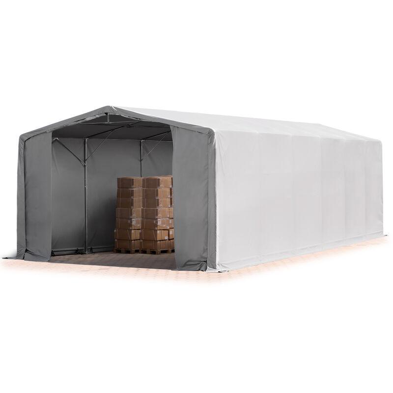 8x12m hangar INTENT24, PVC d'env. 550 g/m², H. 3,6m avec portes à fermeture Eclair