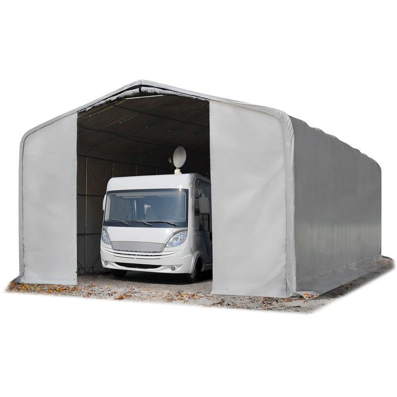 Intent24.fr - 8x12m tente-garage de stockage, porte 4,0x4,7m, toile PVC d'env. 550 g/m²