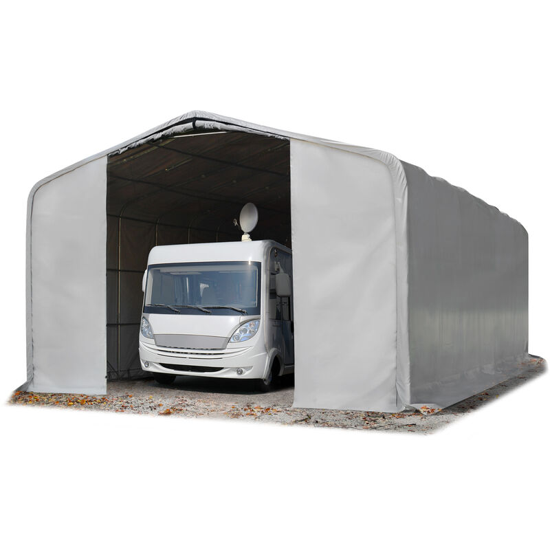 8x24m tente-garage de stockage, porte 4,0x3,6m, toile PVC d'env. 550 g/m²