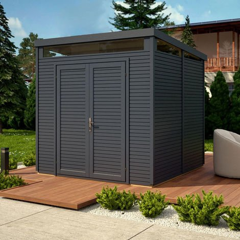 """main image of """"8x8 Pent Security Shed Painted - Anthracite"""""""