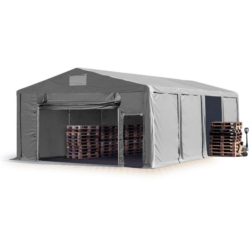 8x8m Tente de stockage INTENT24, PVC env. 550 g/m², H. 3m avec porte actionnée par traction