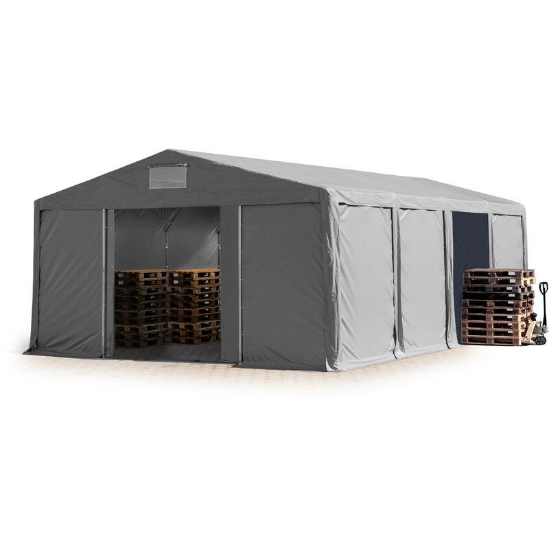 8x8m Tente de stockage INTENT24, PVC env. 550 g/m², H. 3m avec porte coulissante