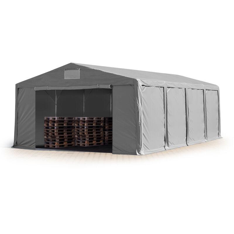8x8m Tente de stockage INTENT24, PVC env. 550 g/m², H. 3m avec portes à fermeture Eclair