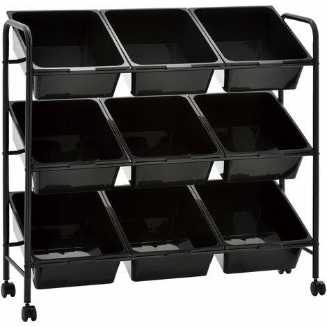 9-Basket Toy Storage Trolley Black Plastic