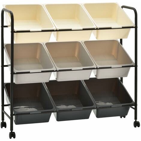 9-Basket Toy Storage Trolley Ombre Plastic