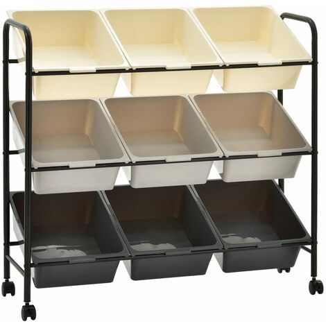9-Basket Toy Storage Trolley Ombre Plastic - Multicolour