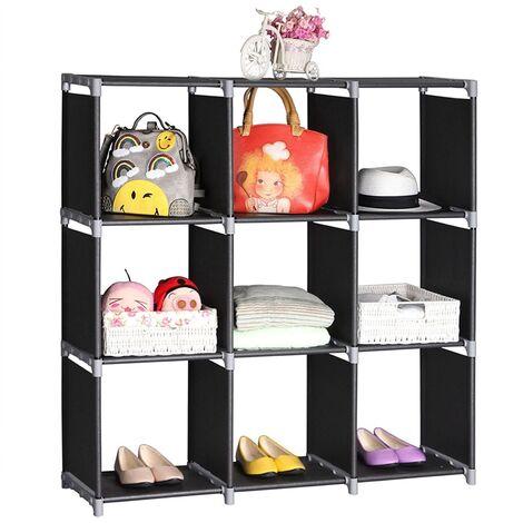 "9 Cube Modular Storage Shelves Organiser Rack DIY Open Bookshelf Closet 41.73 × 11.73 × 43.3"" (Black)"