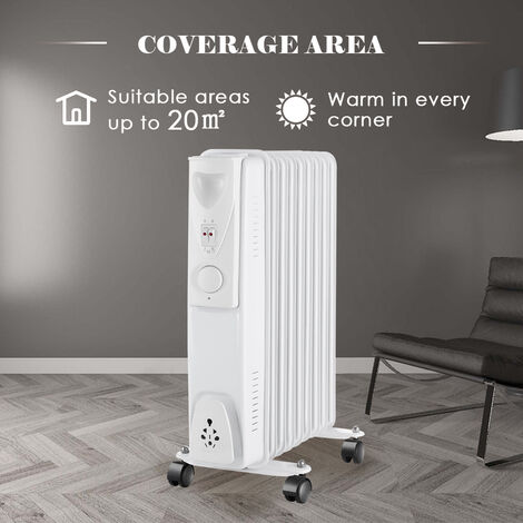 9 Fin 2000W Electric Oil Filled Radiator Portable Heater 3 Settings Thermostat