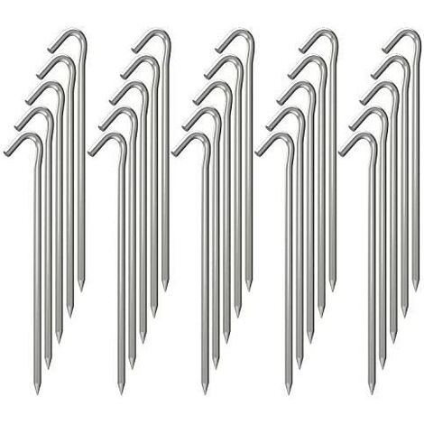 9 Inch Galvanized Tent Stakes Metal Tent Pegs, Heavy Duty Steel Yard Camping Stakes Tarp Hooks Inflatables Outdoor Decorations, 25 Pack