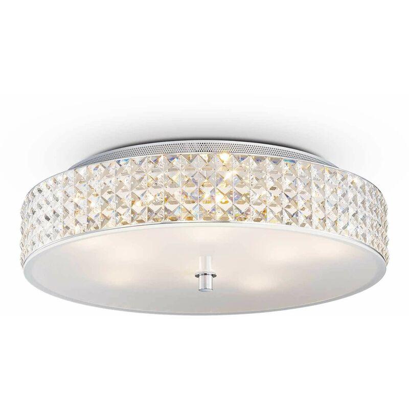 01-ideal Lux - 9-Licht weiße ROMA Kristall Deckenleuchte