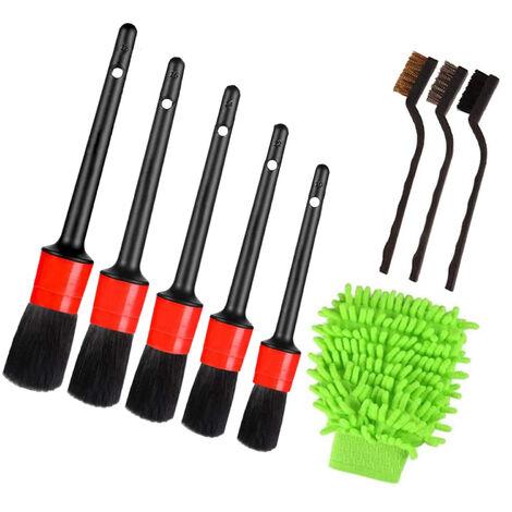 9 Limpiador de piezas de coches Detalle del sistema de cepillo incluyendo la prima del cepillo, cepillo de alambre y Car Wash Mitt, Mantenimiento del vehiculo cepillo para limpiar las ruedas, interior, exterior, Cuero