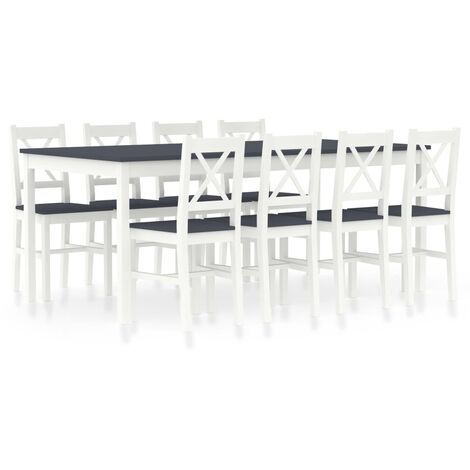 9 Piece Dining Set Pinewood White and Grey