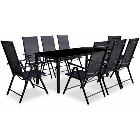 9 Piece Folding Outdoor Dining Set Aluminium Black