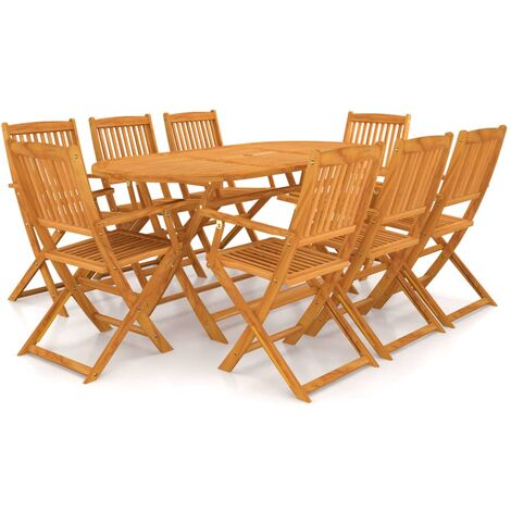 9 Piece Folding Outdoor Dining Set Solid Acacia Wood - Brown