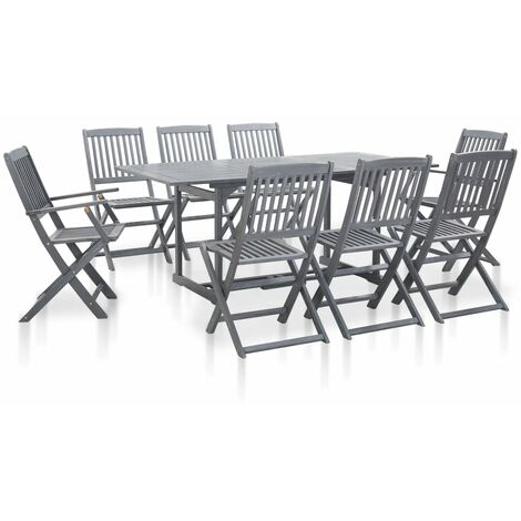 9 Piece Garden Dining Set Solid Acacia Wood Grey