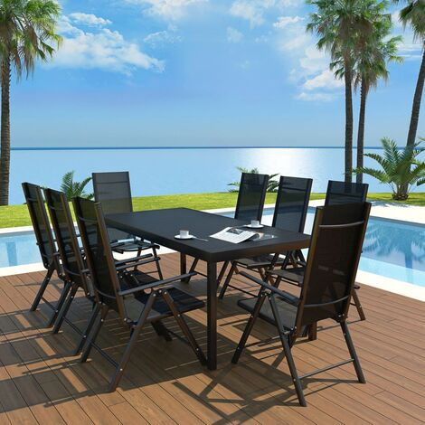 9 Piece Outdoor Dining Set Aluminium and WPC Black