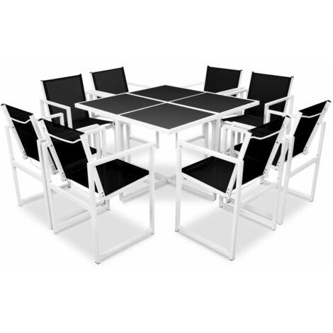 9 Piece Outdoor Dining Set Aluminium Black