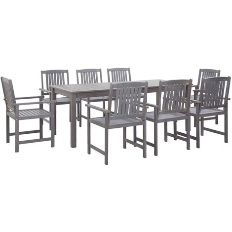 9 Piece Outdoor Dining Set Grey Solid Acacia Wood