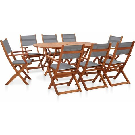 9 Piece Outdoor Dining Set Grey Solid Eucalyptus Wood and Textilene