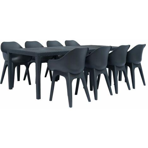 9 Piece Outdoor Dining Set Plastic Anthracite