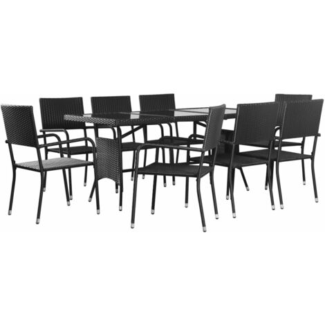 9 Piece Outdoor Dining Set Poly Rattan Black