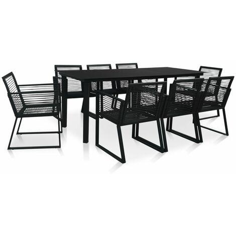 9 Piece Outdoor Dining Set PVC Rattan Black