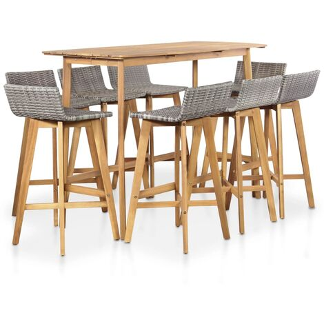 9 Piece Outdoor Dining Set Solid Acacia Wood