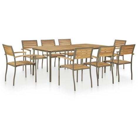 9 Piece Outdoor Dining Set Solid Acacia Wood and Steel