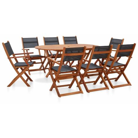 9 Piece Outdoor Dining Set Solid Eucalyptus Wood and Textilene