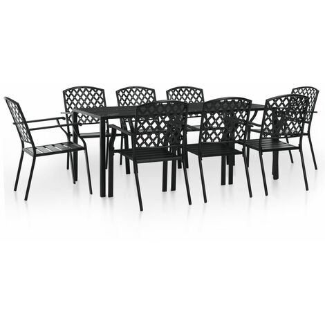 9 Piece Outdoor Dining Set Steel Black