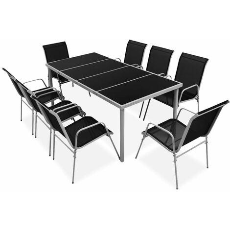 9 Piece Outdoor Dining Set Steel Black