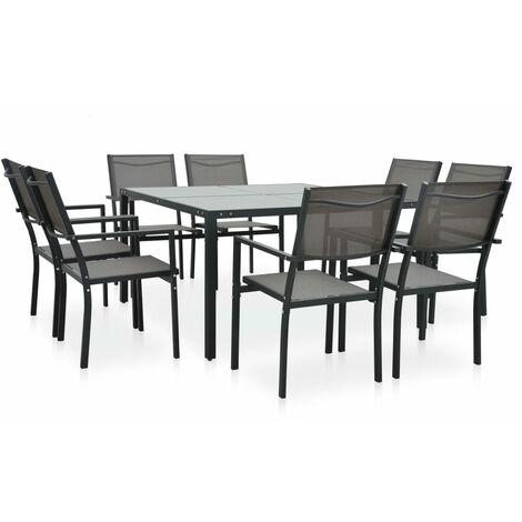 9 Piece Outdoor Dining Set Steel Dark Grey