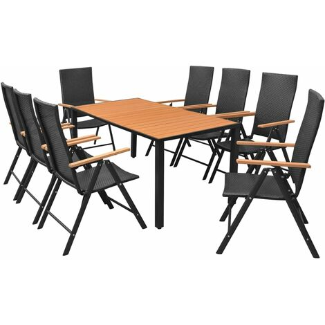 9 Piece Outdoor Dining Set WPC and Poly Rattan Black
