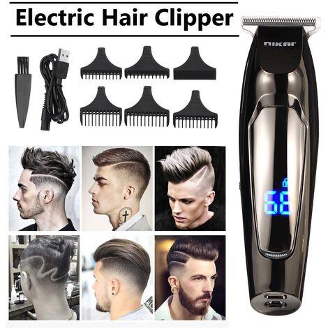 9 pièces USB Rechargeable LCD Dislay électrique tondeuse à cheveux étanche tondeuses lame en acier coupe de cheveux tondeuse barbier outil