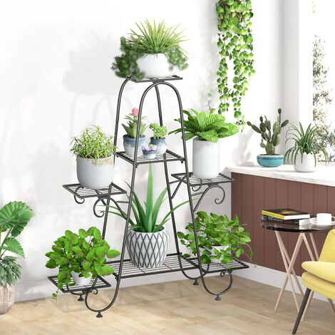 9 Pots Strong Iron Plant Stand Planter Shelf Flower Rack Garden Patio Display