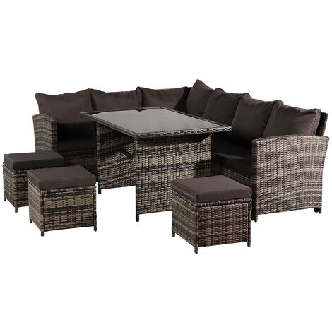 9 Seat Rattan Furniture Outdoor Sofa Dining Table With Free Rain Cover Black Silk Screen Glass Dark Grey Sofa Cover (UK Flame Retardant Material) Grey