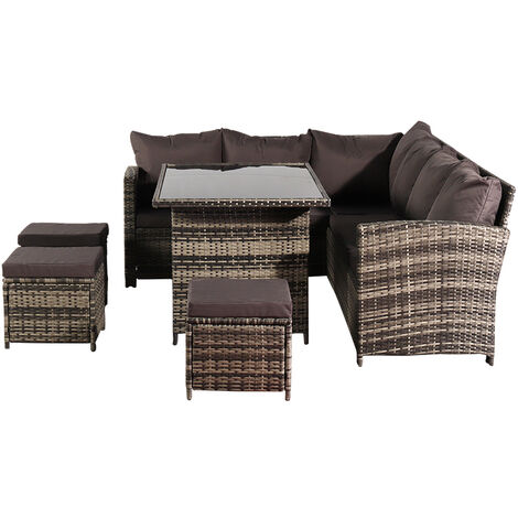 "main image of ""9 seater rattan corner sofa set outdoor courtyard conversation leisure set garden furniture terrace balcony Black - Dark Grey"""