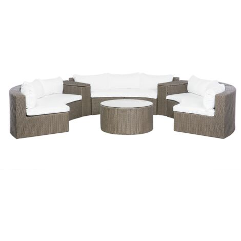 9 Seater Rattan Garden Lounge Set Brown SEVERO