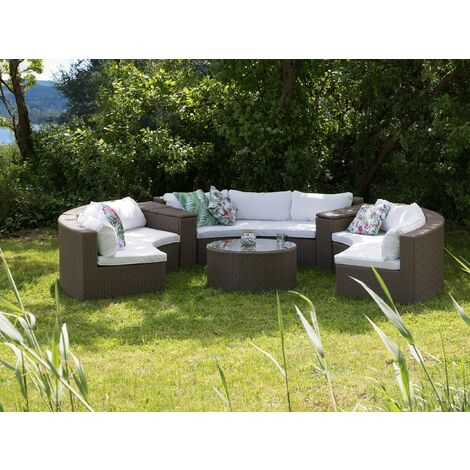 9 Seater Rattan Garden Lounge Set Brown SEVERO