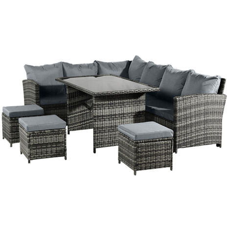 9 Seaters Rattan Furniture Set Garden Sofa Tea Table
